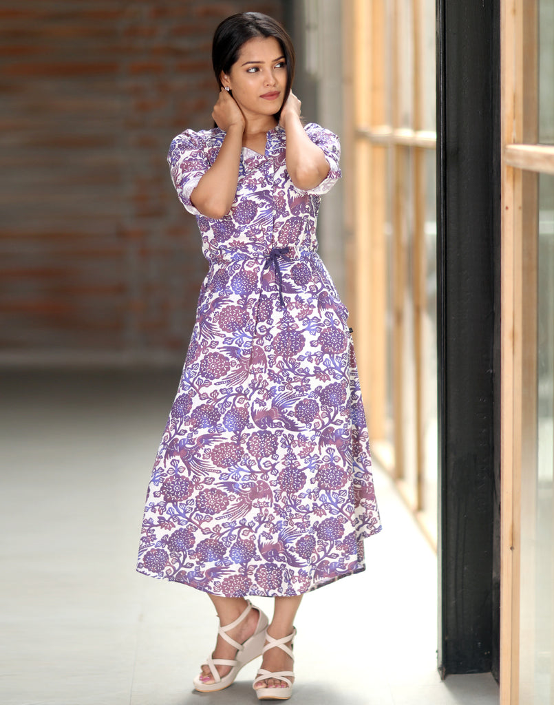 Purple Floral Printed Maxi Dress Style Anarkali