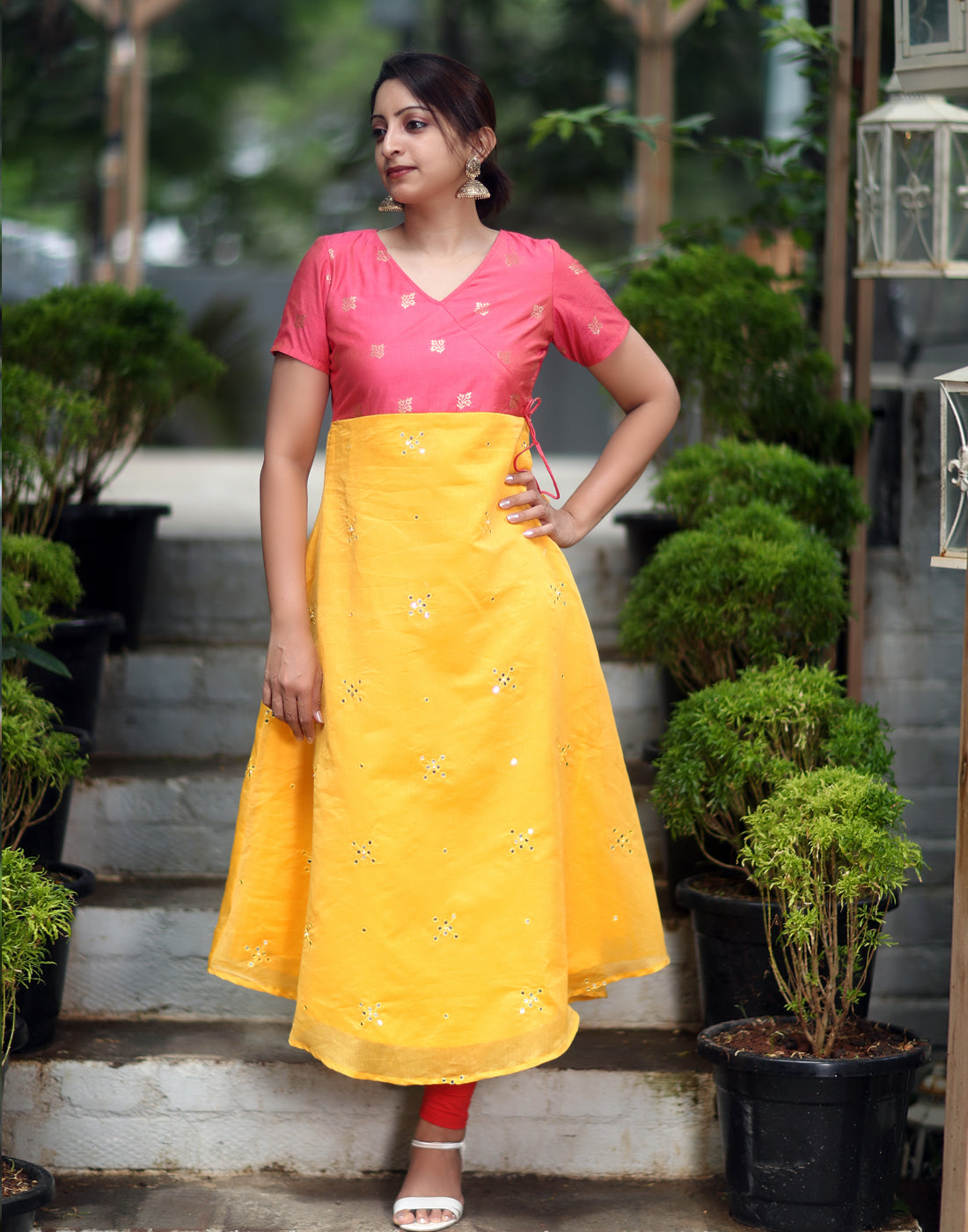 Yellow and Hot Pink Festive Anarkali