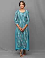 Sky Blue Stylish Retro Print Kurti Double layered Kurti