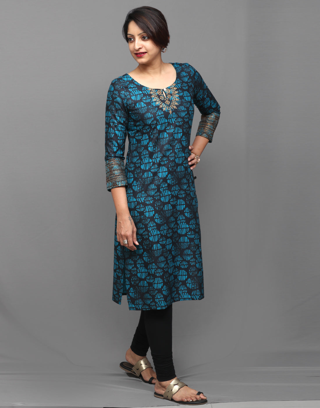 Blotch Blue Printed Kurta with Metallic Embroidery