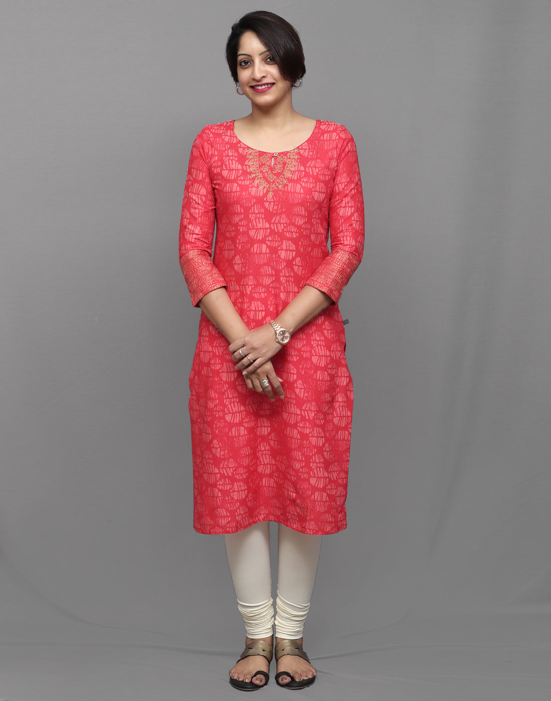 Hot Pink Blotch Printed Kurta with Metallic Embroidery