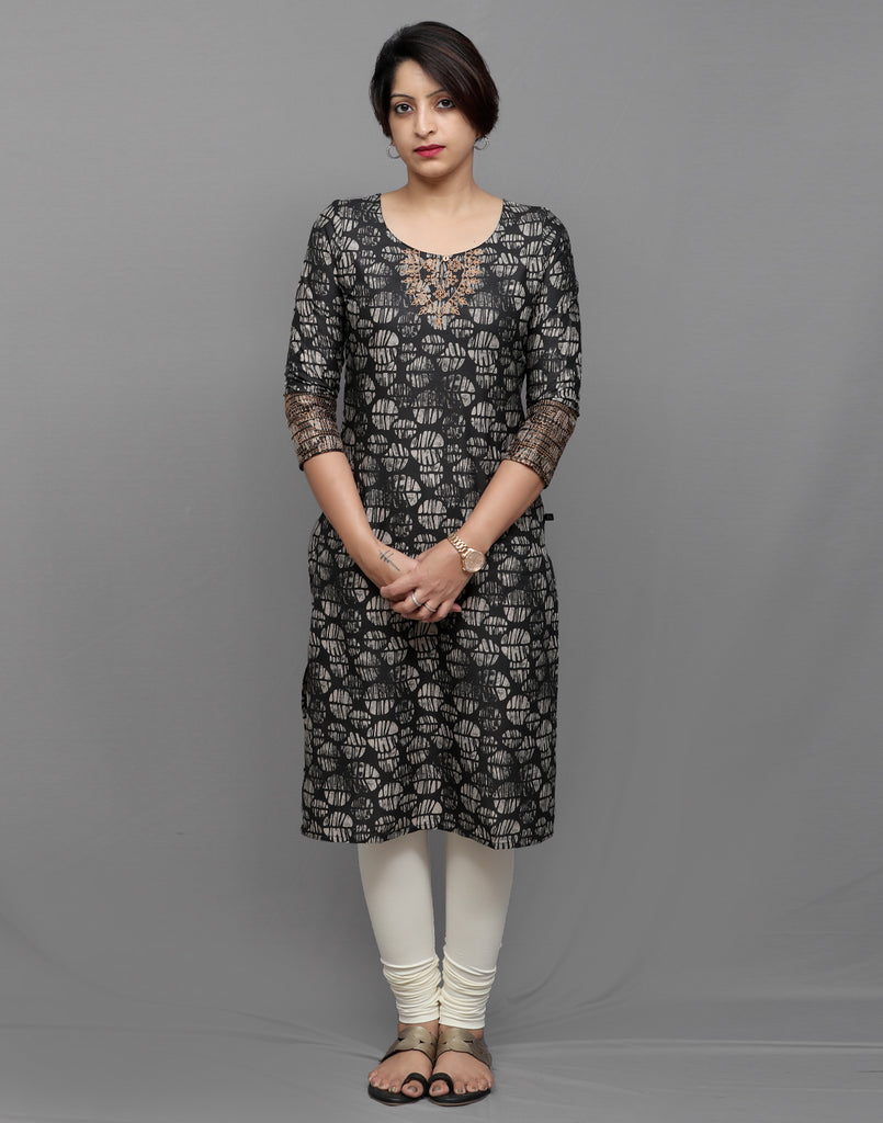 Blotch Grey Printed Kurta with Metallic Embroidery
