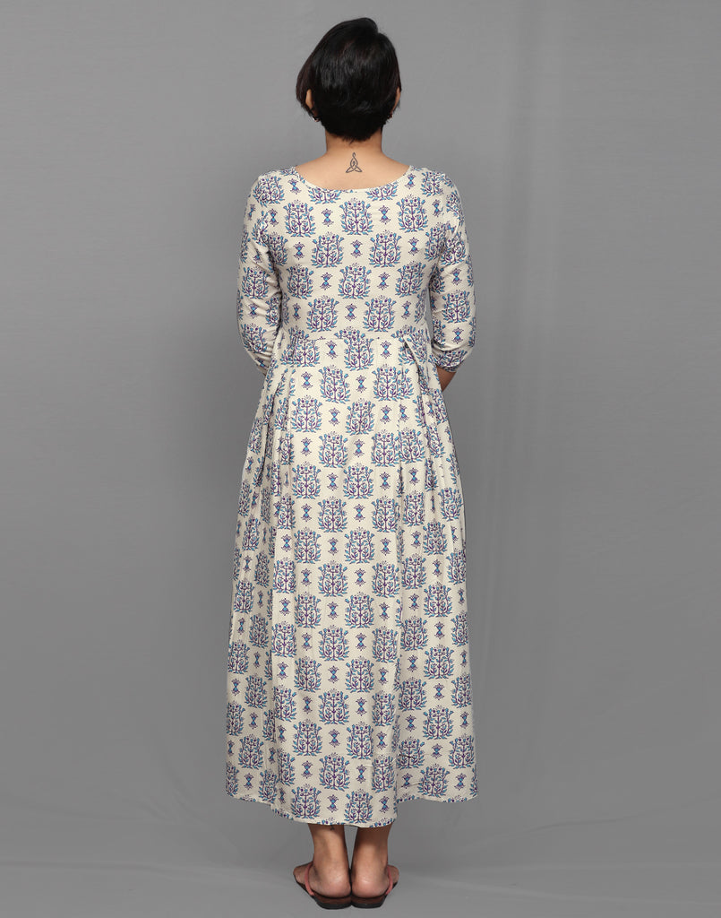 Grey and Purple  Ethnic Printed Maxi Anarkali