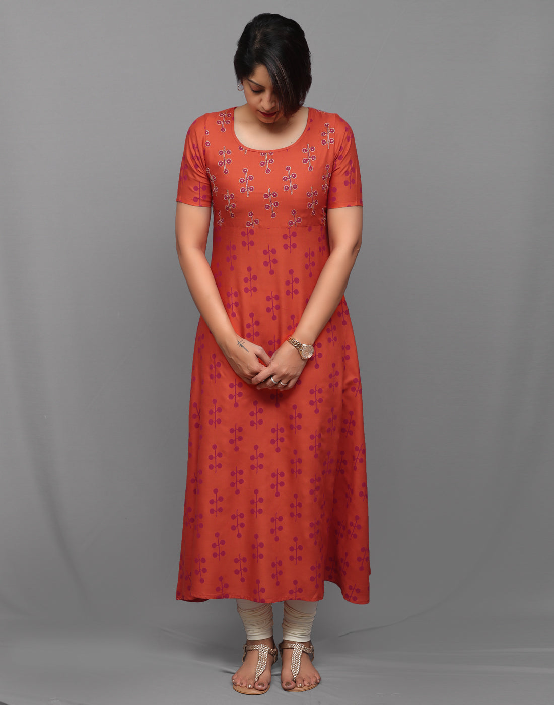 Hand Embroidered Retro Printed Orange Anarkali