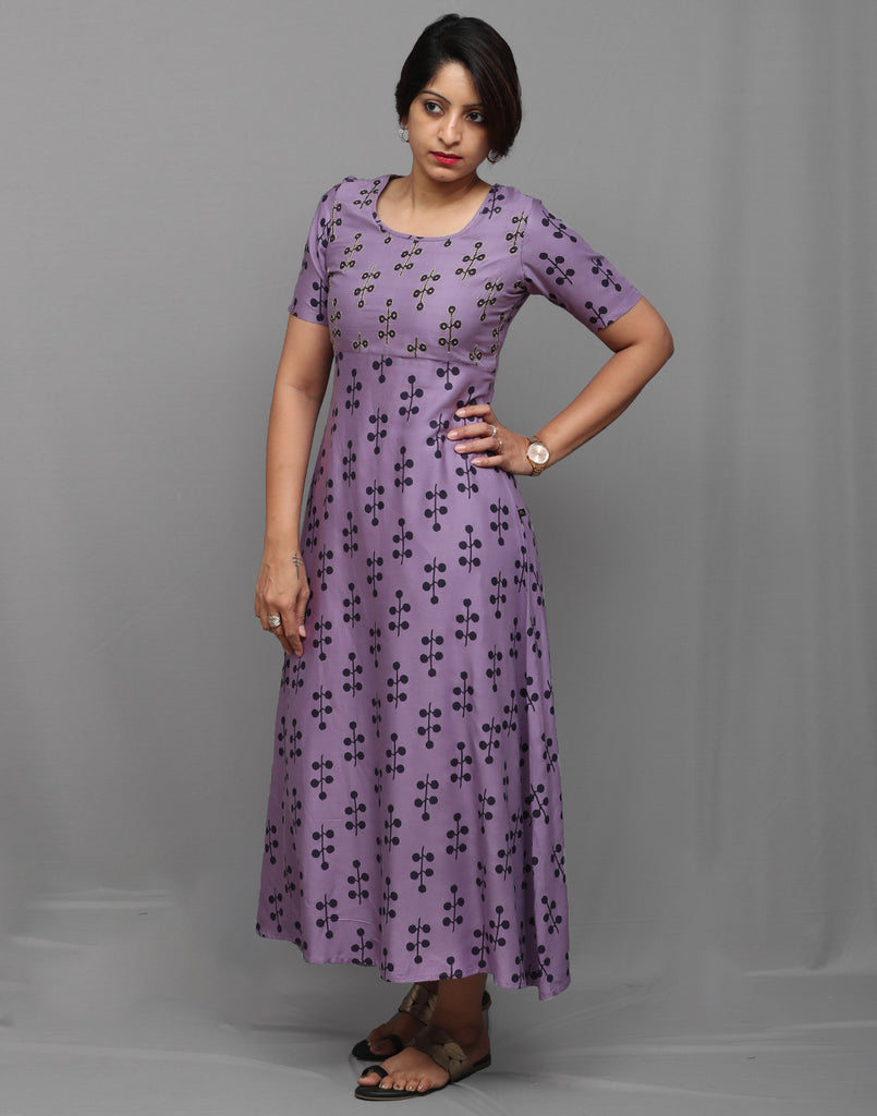 Hand Embroidered Retro Printed Purple Anarkali