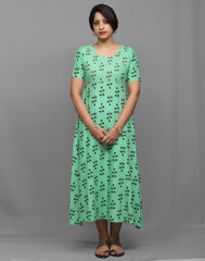 Sea Green Hand Embroidered Retro Printed Anarkali