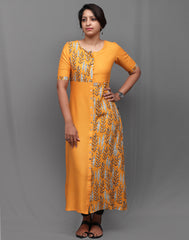 Mustard Stylish Retro Print Kurti