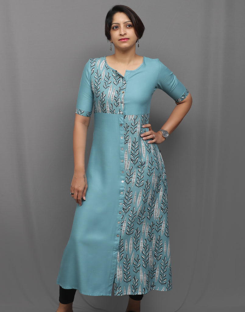Sky Blue Stylish Retro Print Kurti