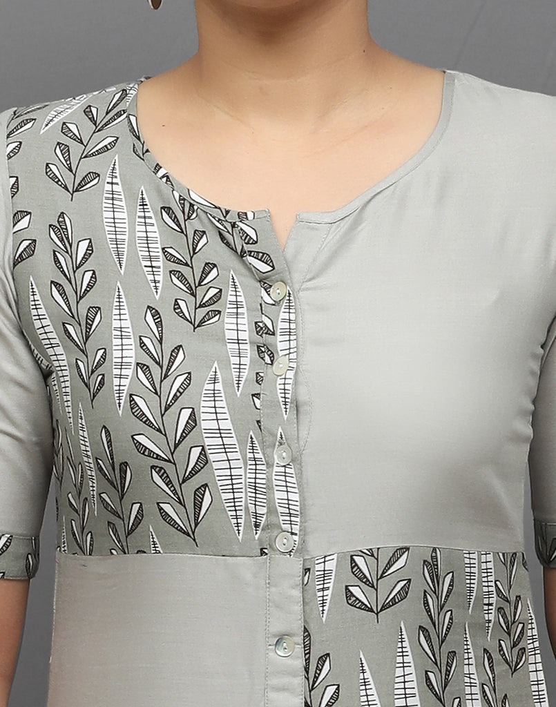 Light Grey Stylish Retro Print Kurti