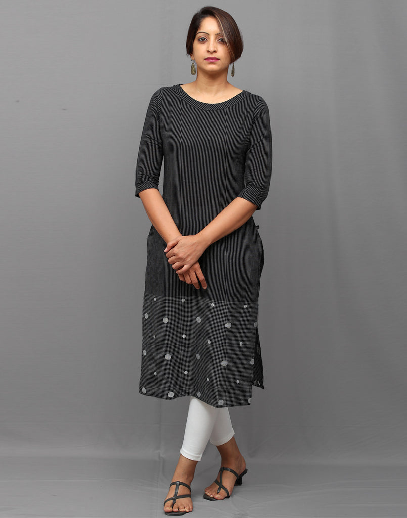 Black South Cotton Stripped Kurti