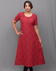 Crimson red checkered south cotton A-line kurti