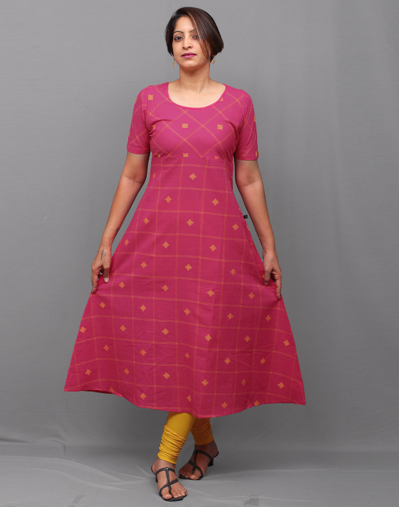 Hot pink checkered south cotton A-line kurti