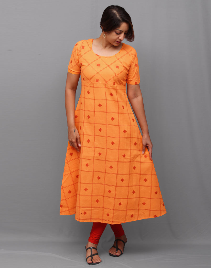 Saffron orange checkered south cotton A-line kurti