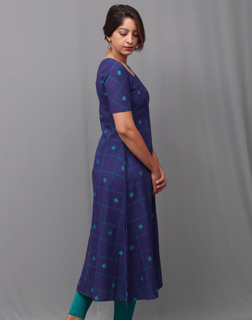 Royal blue  checkered south cotton A-line kurti