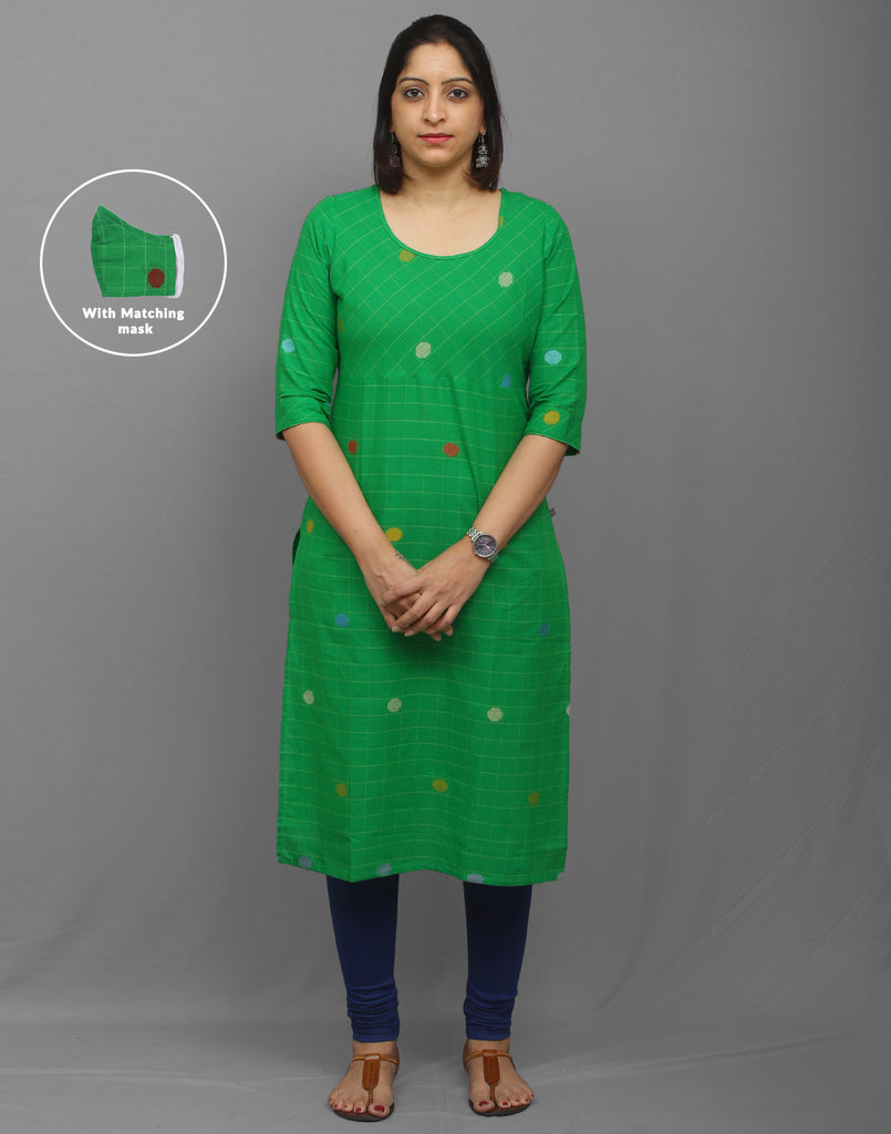 Green checkered south cotton kurti