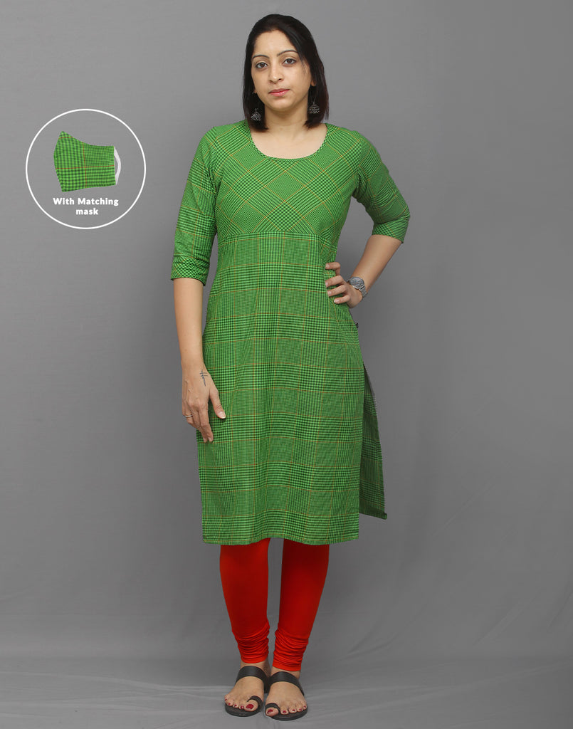 Multicolor Checked Printed Kurti