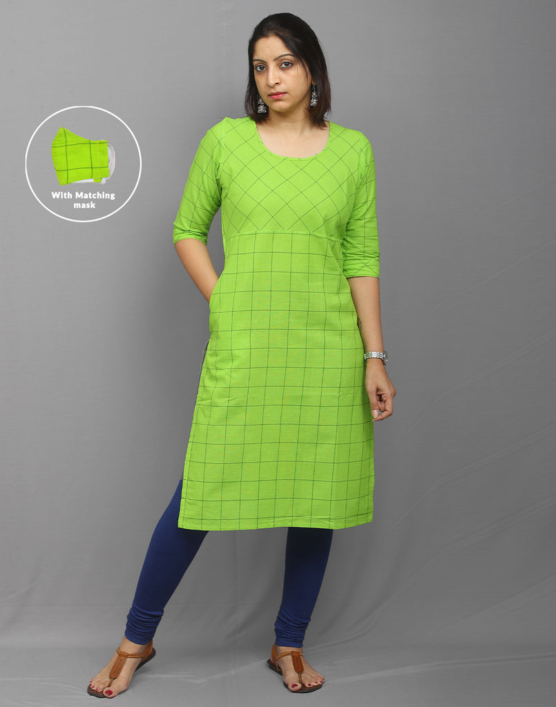 Light Green checkered south cotton kurti