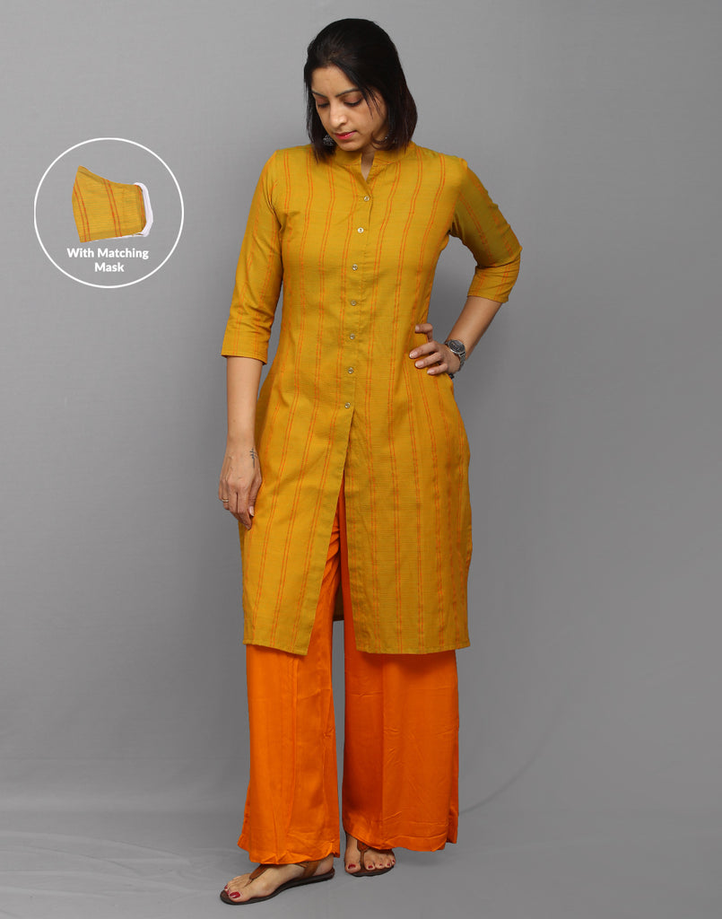 Stylish corporate  Mustard cotton dobby kurti with center slit opening. Be it home or officer, Wear it and work in style