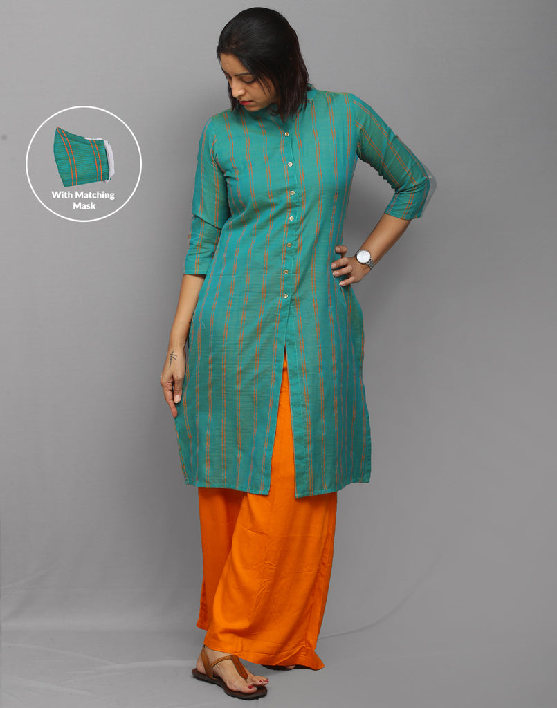 Stylish corporate Aqua Green cotton dobby kurti with center slit opening