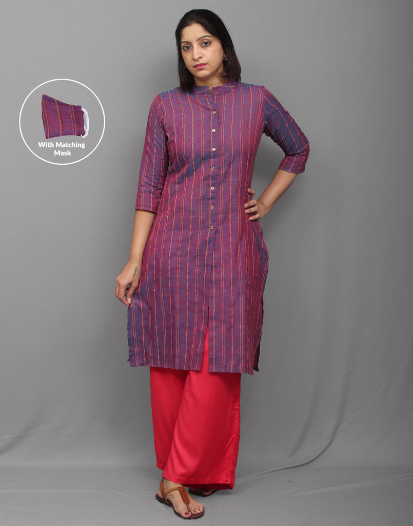 Stylish corporate Magenta cotton dobby kurti with center slit opening. Be it home or officer, Wear it and work in style