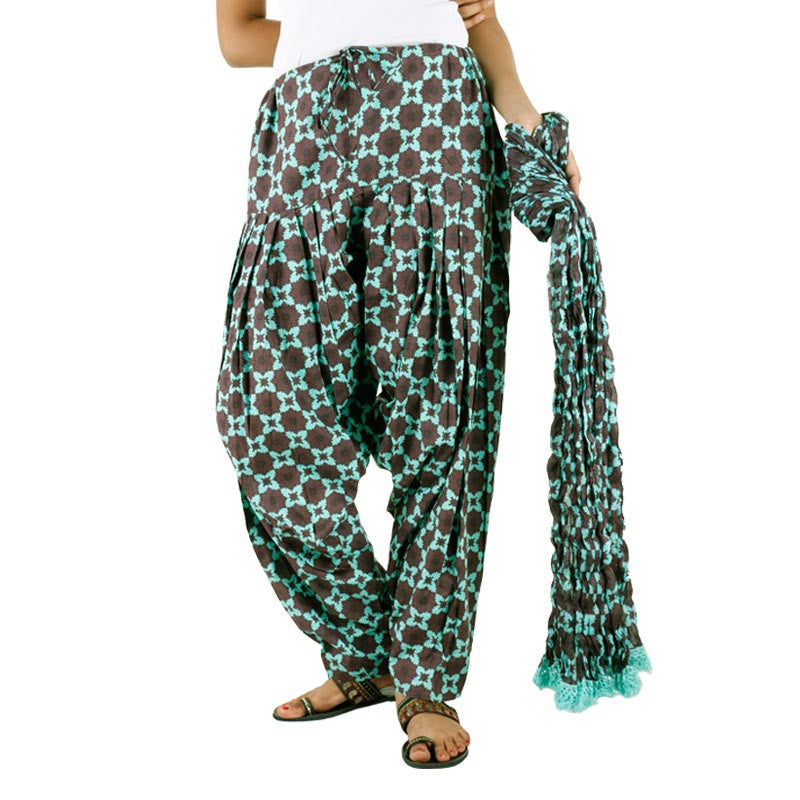 eSTYLe Ethnic Aqua Green Cotton Printed Semi Patiala & Dupatta set