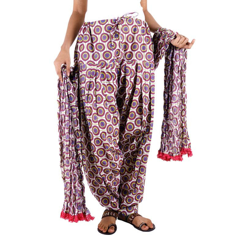 eSTYLe Purple Floral Cotton Printed Semi Patiala & Dupatta set