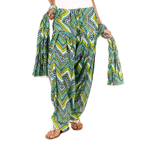 eSTYLe zig-zag Printed Green Semi Patiala & Dupatta set