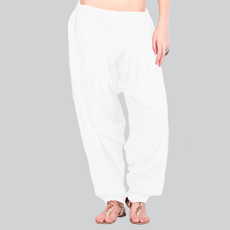 White Patiala Bottom With Side Pockets From eSTYLe