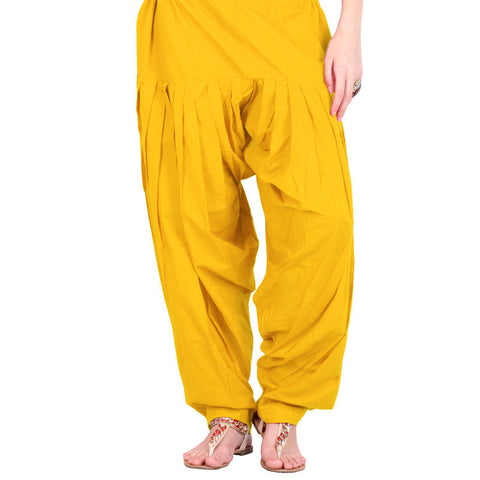 Bright Yellow Colour Semi Patiala Bottom With Side Pockets From eSTYLe