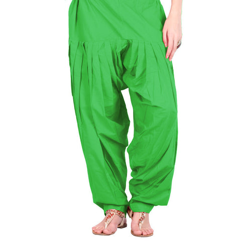 Semi Patiala Bottom In Bright Green With Side Pockets
