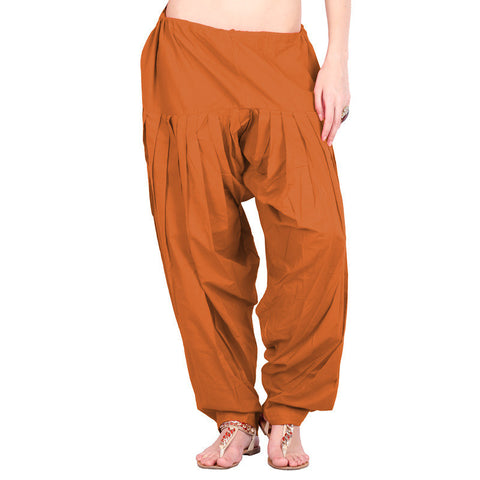Leather Brown Colour Semi Patiala Bottom With Side Pockets From eSTYLe