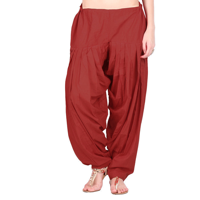 100% Cotton Brick Red Semi Patiala Bottom