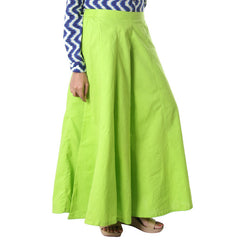 Green Glow Cotton Plain Palazzo Pant From eSTYLe
