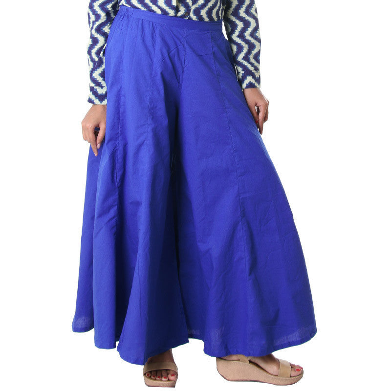 eSTYLe Deep Ultramarine Casual Cotton Palazzo Pant