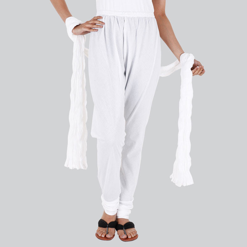 100% Cotton Bright White Chudi Bottom With Dupatta