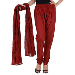Brownish Maroon Colour Chudi Bottom And Dupatta