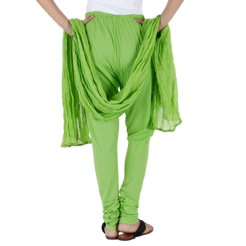 Cotton Spring Green Chudi Bottom With Dupatta From eSTYLe