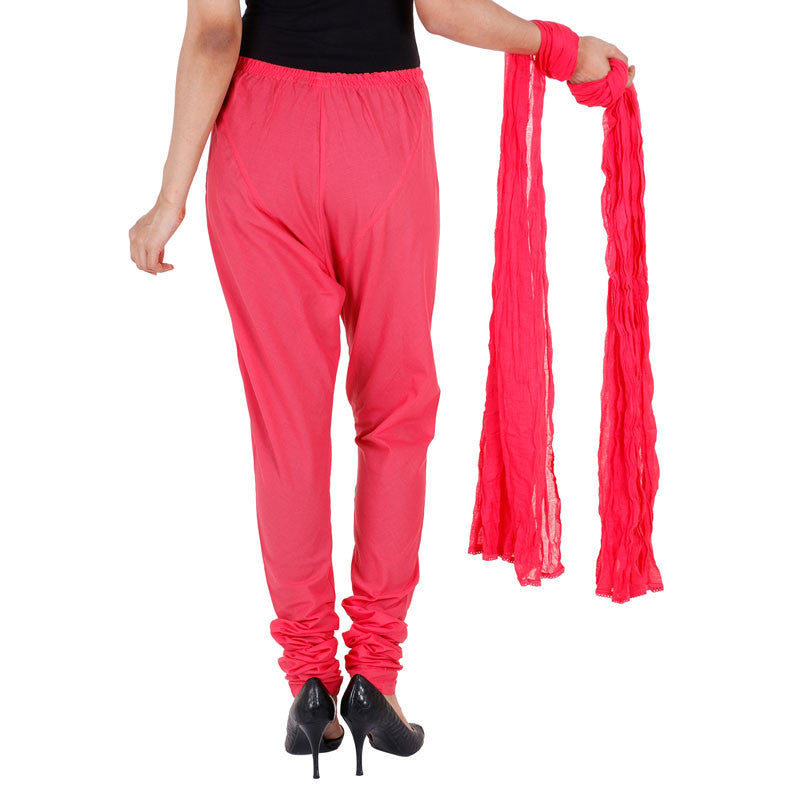 Bright Pink Colour Chudi Bottom With Dupatta From eSTYLe