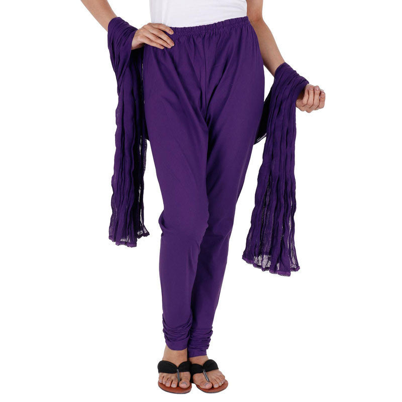 eSTYLe 100% Cotton Bright Violet Chudi Bottom With Dupatta