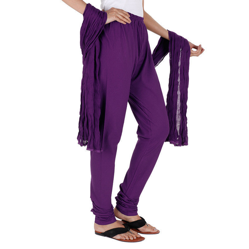 eSTYLe 100% Cotton Violet Chudi Bottom With Dupatta