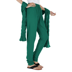 Dark Green 100% Cotton Chudi Bottom And Dupatta