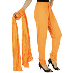 eSTYLe Russet Orange Pure Cotton Chudi Pant With Dupatta