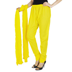 ButterCup Yellow 100% Cotton Chudi Pant & Dupatta From eSTYLe