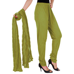 eSTYLe Olive Green Pure Cotton Chudi Pant With Dupatta