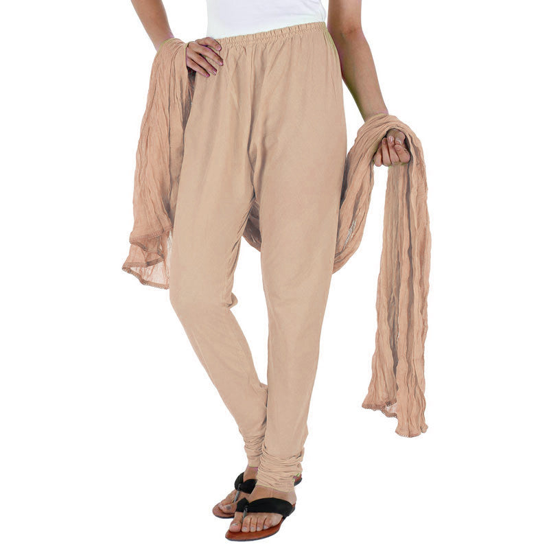 Cuban Sand Beige Cotton Chudi Pant & Dupatta From eSTYLe