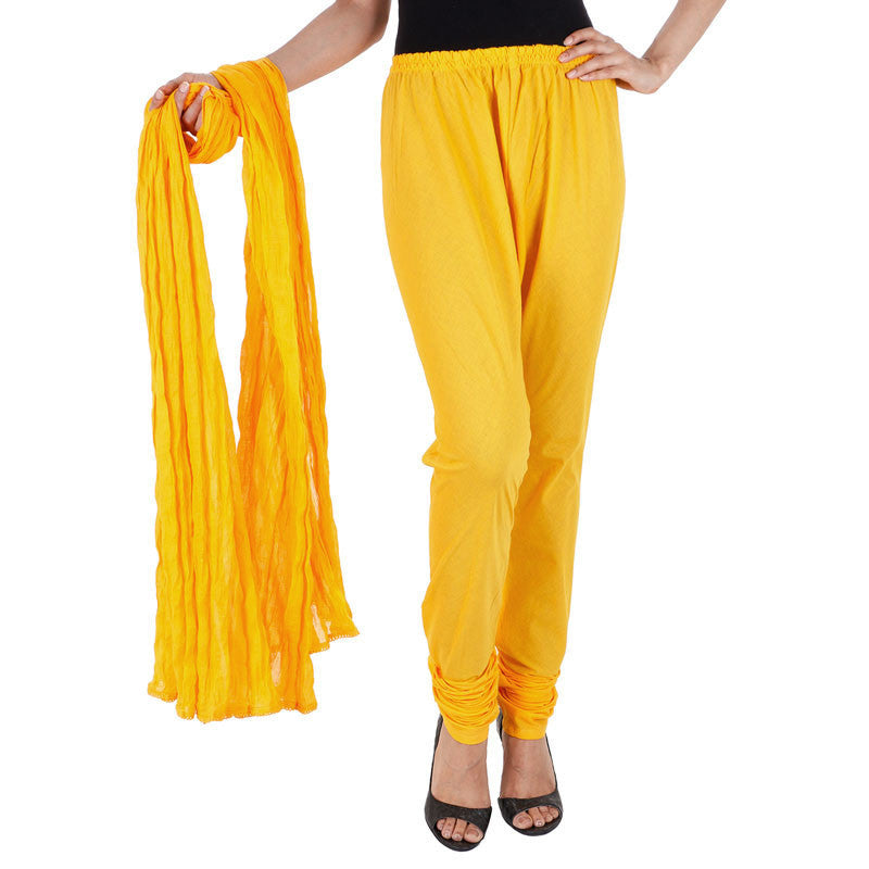 eSTYLe Mango Yellow 100% Cotton Chudi Pant & Dupatta