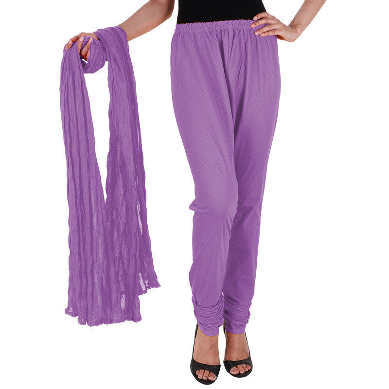 Meadow Violet Pure Cotton Chudi Pant With Dupatta From eSTYLe