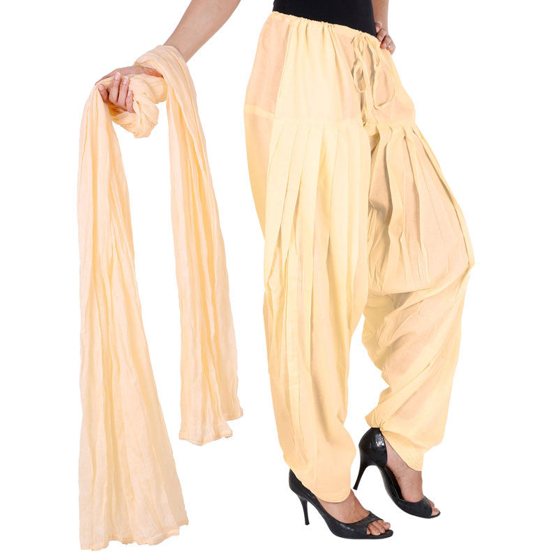 Sandal Colour Semi Patiala Bottom And Dupatta With Side Pockets From eSTYLe
