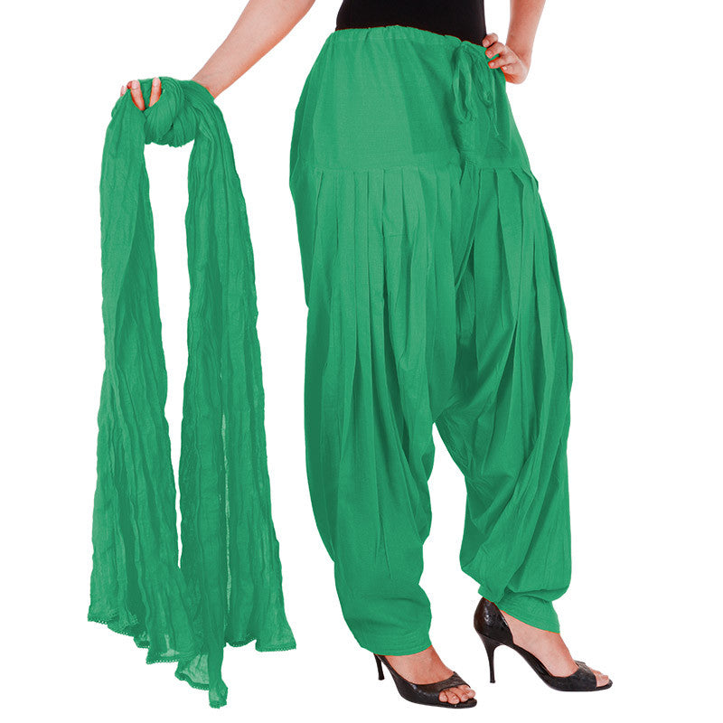 Green Semi Patiala Bottom And Dupatta With Side Pockets From eSTYLe