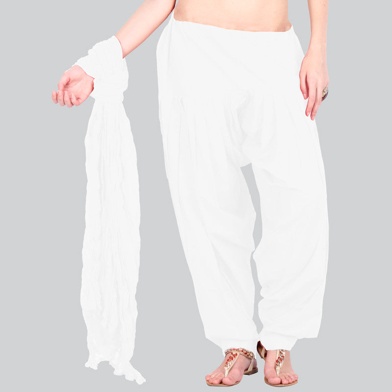 White Semi Patiala Bottom & Trendy Cotton Dupatta With Side Pockets From eSTYLe